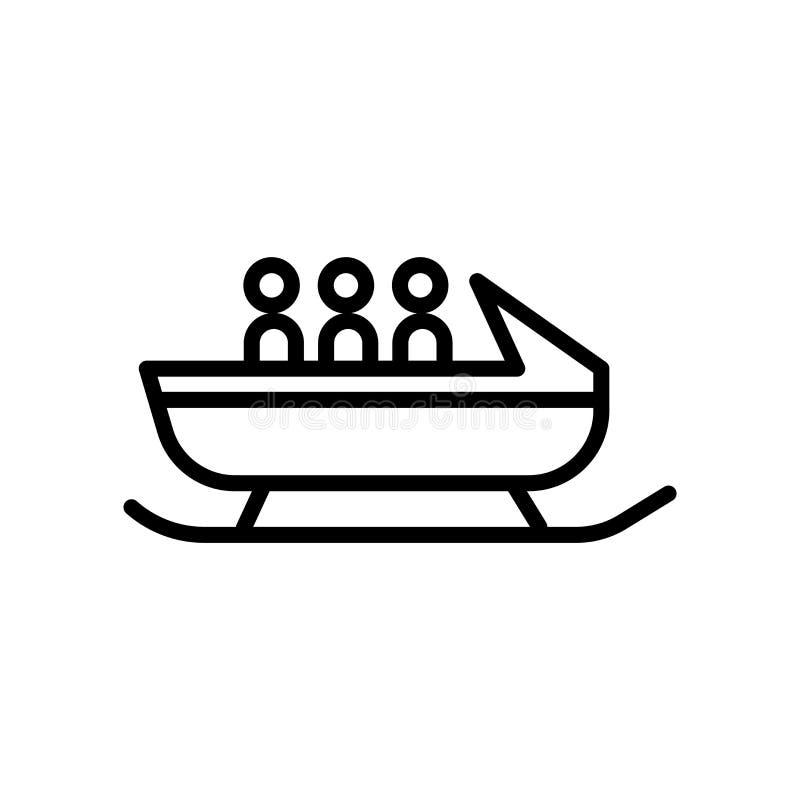 Vector del icono del trineo aislado en el fondo blanco, la muestra del trineo, el símbolo linear y elementos del diseño del movim ilustración del vector