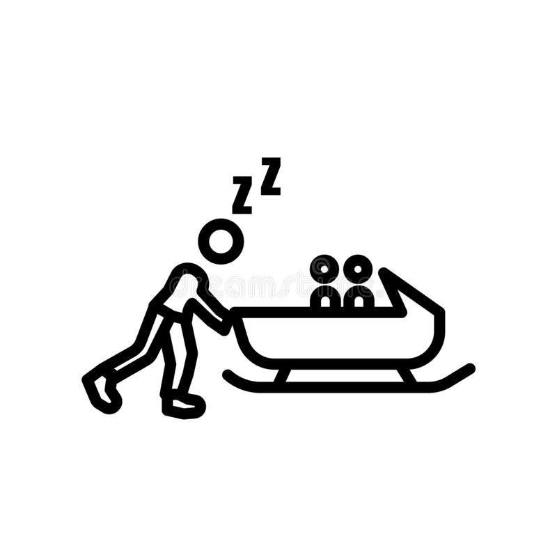 Vector del icono del trineo aislado en el fondo blanco, la muestra del trineo, el símbolo linear y elementos del diseño del movim stock de ilustración