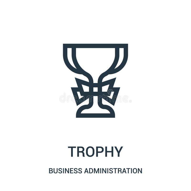 vector del icono del trofeo de la colección de la administración de empresas Línea fina ejemplo del vector del icono del esquema  libre illustration