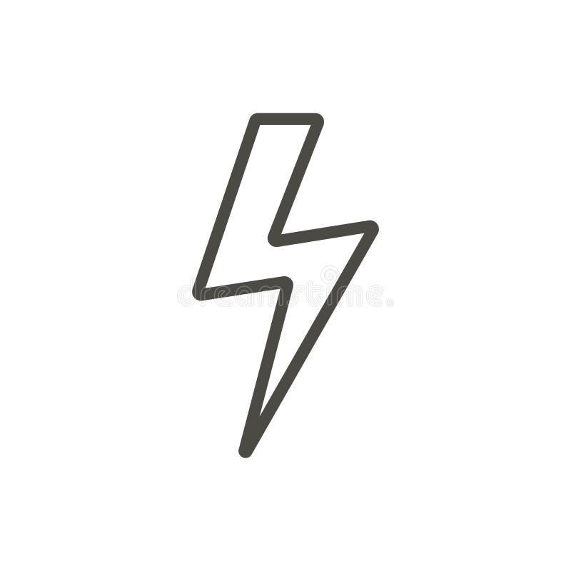 Vector del icono del trueno Línea símbolo del rayo stock de ilustración