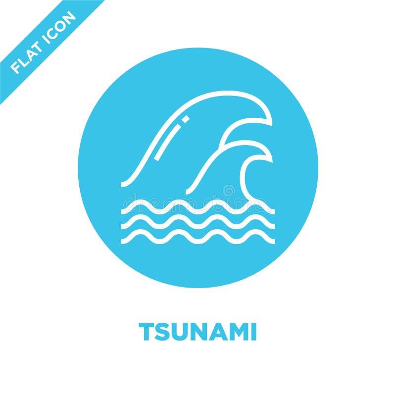 vector del icono del tsunami de la colección del calentamiento del planeta Línea fina ejemplo del vector del icono del esquema de stock de ilustración