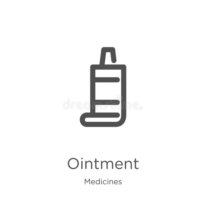 vector del icono del ungüento de la colección de las medicinas Línea fina ejemplo del vector del icono del esquema del ungüento E ilustración del vector