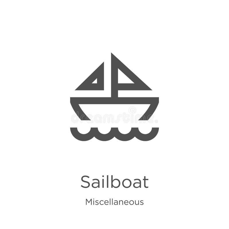 vector del icono del velero de la colección diversa Línea fina ejemplo del vector del icono del esquema del velero Esquema, línea libre illustration