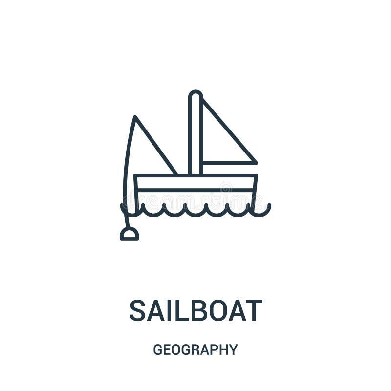 vector del icono del velero de la colección de la geografía Línea fina ejemplo del vector del icono del esquema del velero libre illustration