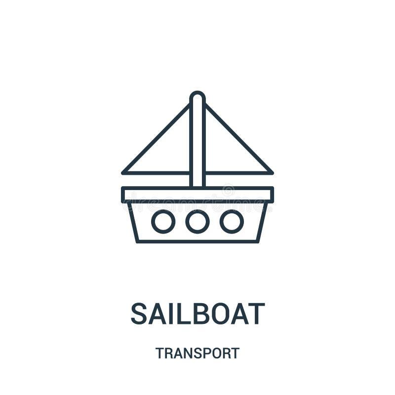 vector del icono del velero de la colección del transporte Línea fina ejemplo del vector del icono del esquema del velero libre illustration