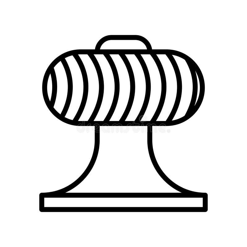 Vector del icono del ventilador aislado en el fondo, la muestra del ventilador, la línea y los elementos blancos del esquema en e ilustración del vector