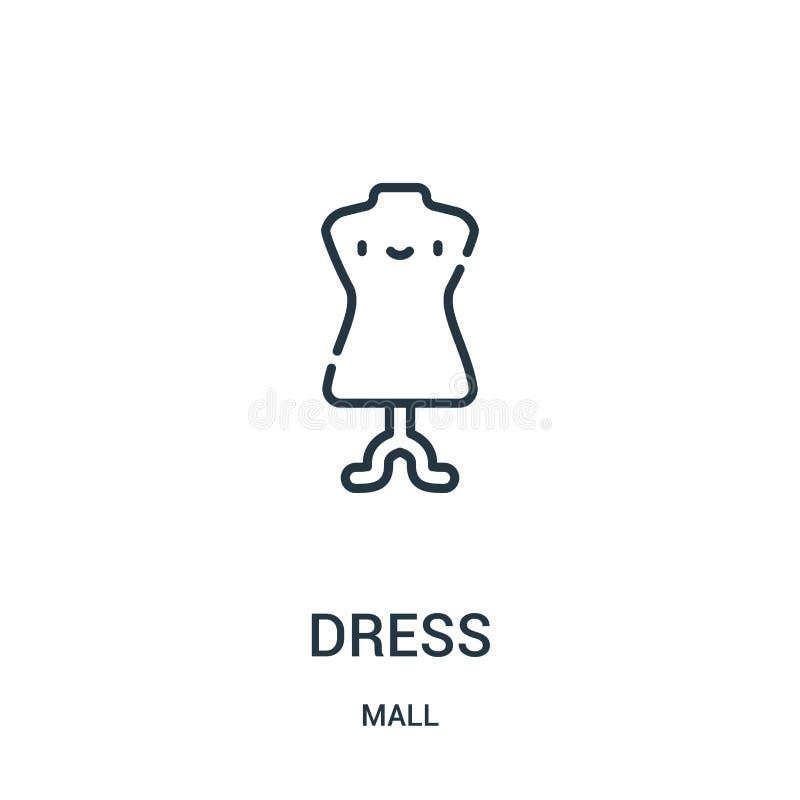 vector del icono del vestido de la colección de la alameda Línea fina ejemplo del vector del icono del esquema del vestido Símbol stock de ilustración