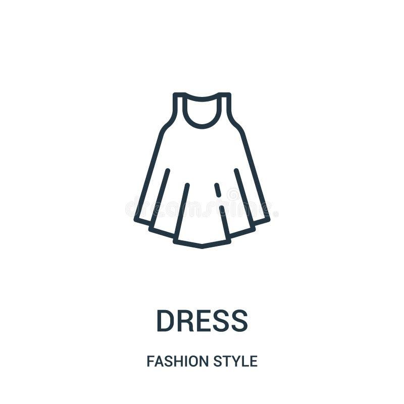 vector del icono del vestido de la colección del estilo de la moda Línea fina ejemplo del vector del icono del esquema del vestid stock de ilustración