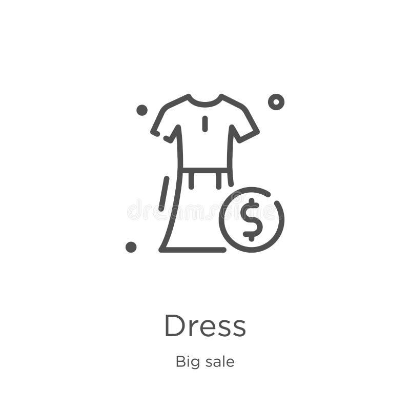 vector del icono del vestido de la colección grande de la venta L?nea fina ejemplo del vector del icono del esquema del vestido E libre illustration