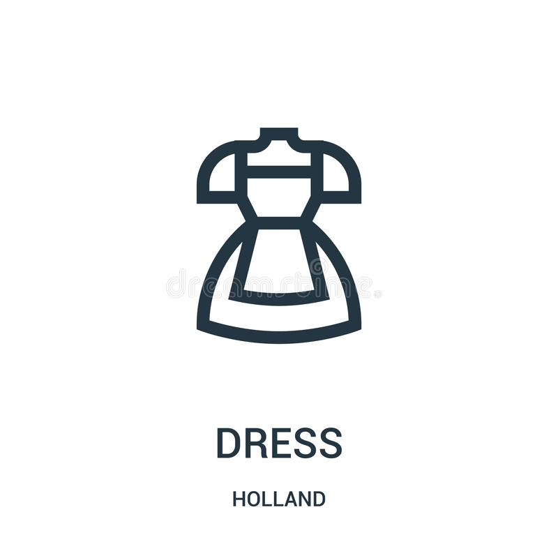 vector del icono del vestido de la colección de Holanda Línea fina ejemplo del vector del icono del esquema del vestido Símbolo l stock de ilustración