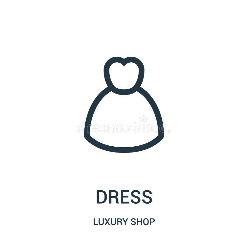 vector del icono del vestido de la colección de lujo de la tienda L?nea fina ejemplo del vector del icono del esquema del vestido libre illustration