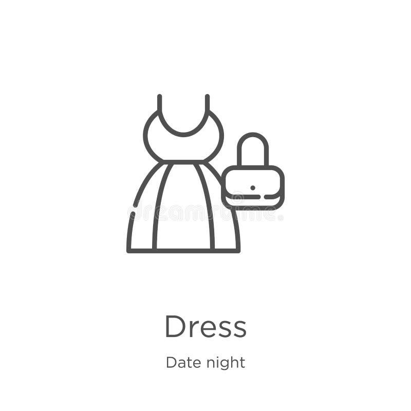 vector del icono del vestido de la colección de la noche de la fecha L?nea fina ejemplo del vector del icono del esquema del vest stock de ilustración