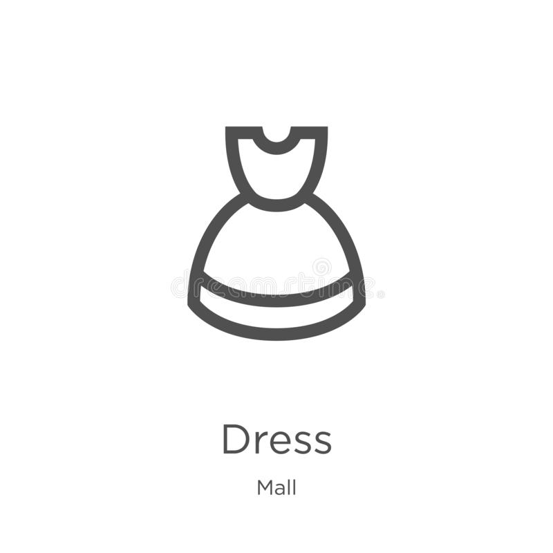 vector del icono del vestido de la colecci?n de la alameda L?nea fina ejemplo del vector del icono del esquema del vestido Esquem ilustración del vector
