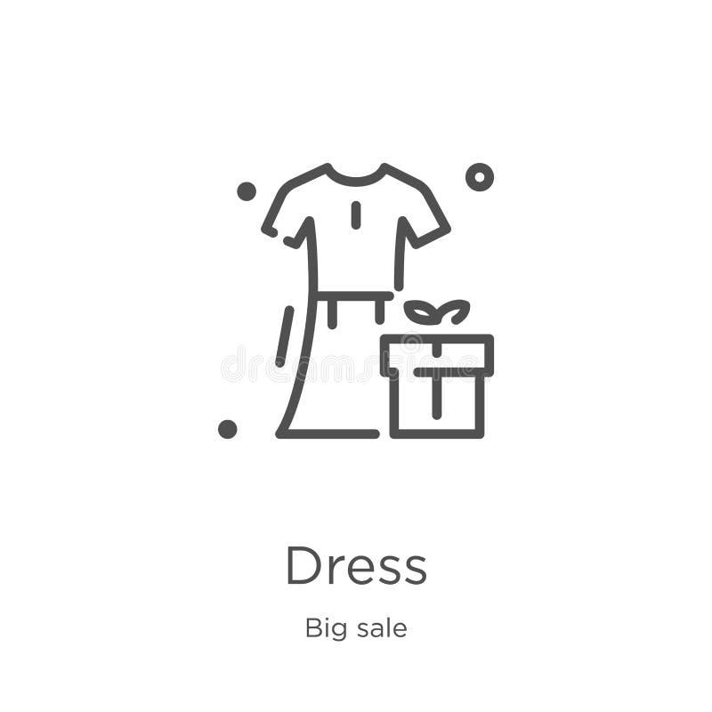 vector del icono del vestido de la colecci?n grande de la venta L?nea fina ejemplo del vector del icono del esquema del vestido E ilustración del vector