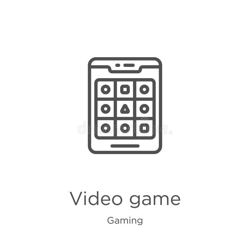 vector del icono del videojuego de la colecci?n del juego L?nea fina ejemplo del vector del icono del esquema del videojuego Esqu libre illustration