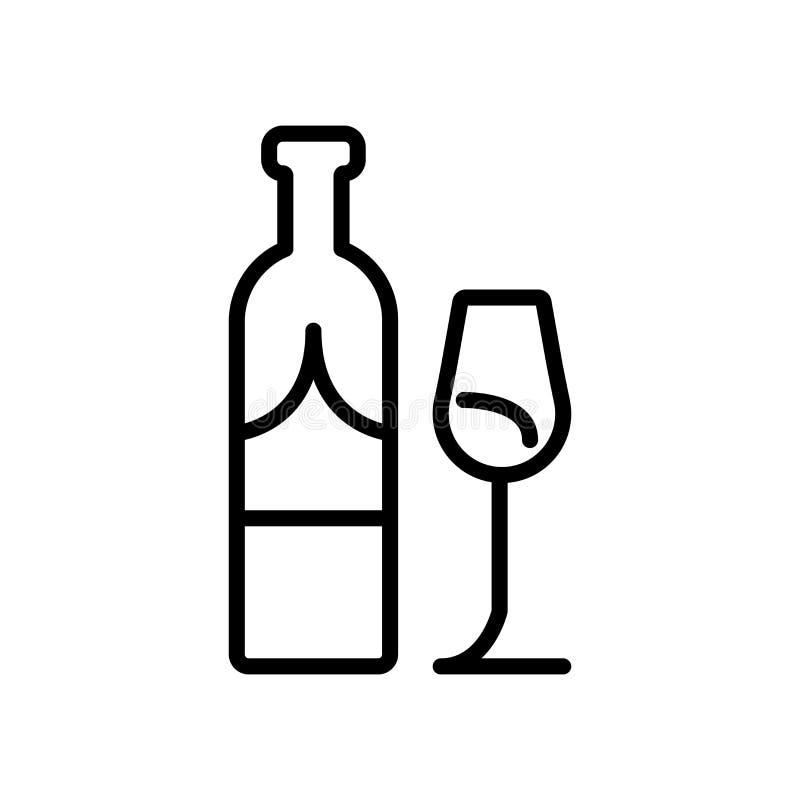 Vector del icono del vino aislado en el fondo, la muestra del vino, la línea y los elementos blancos del esquema en estilo linear stock de ilustración