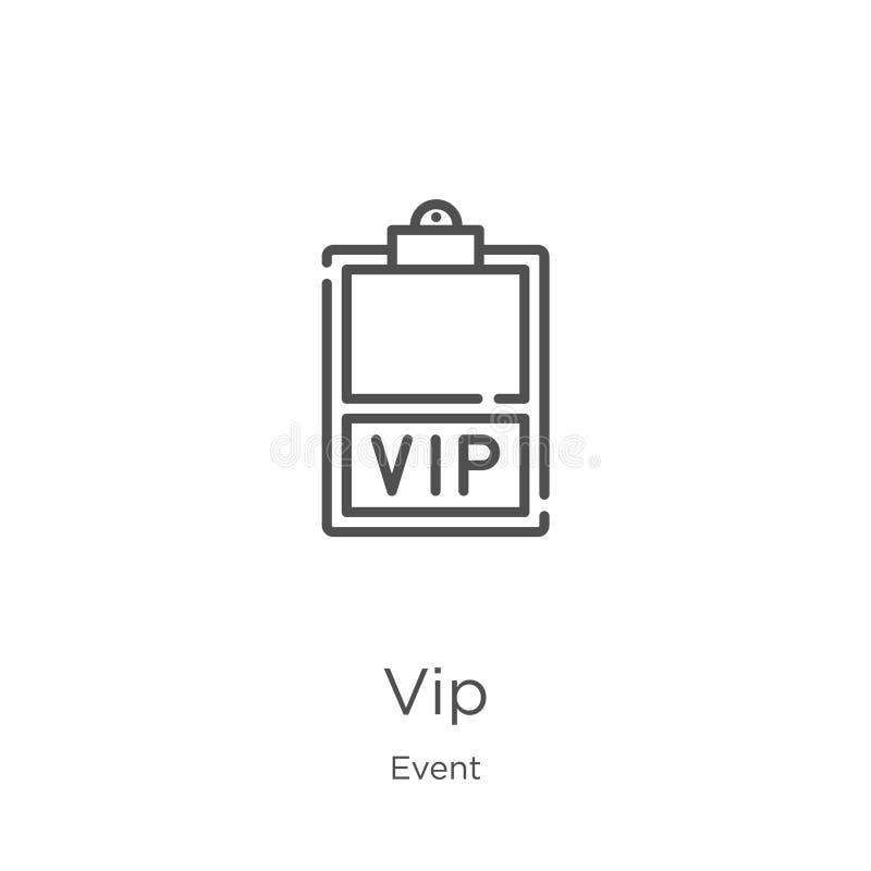 vector del icono del vip de la colección del acontecimiento Línea fina ejemplo del vector del icono del esquema del vip Esquema,  stock de ilustración