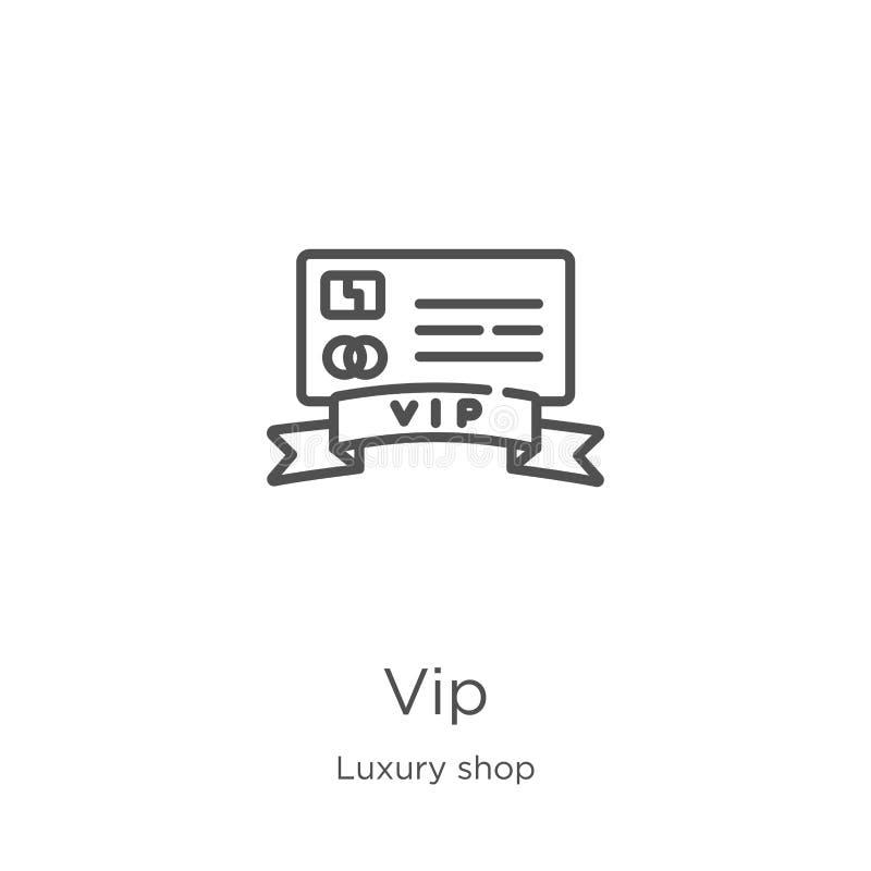 vector del icono del vip de la colecci?n de lujo de la tienda L?nea fina ejemplo del vector del icono del esquema del vip Esquema stock de ilustración