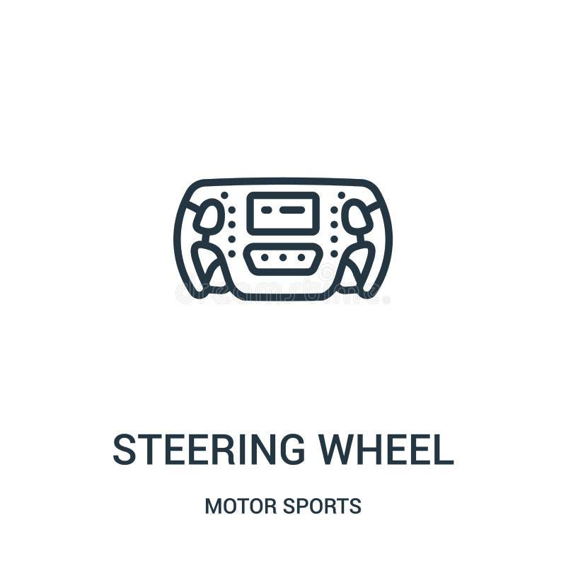 vector del icono del volante de la colección de los deportes de motor L?nea fina ejemplo del vector del icono del esquema del vol stock de ilustración