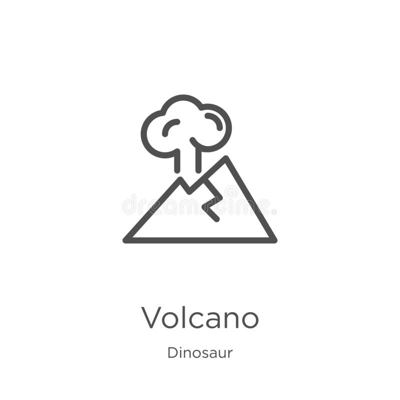 vector del icono del volcán de la colección del dinosaurio L?nea fina ejemplo del vector del icono del esquema del volc?n Esquema stock de ilustración