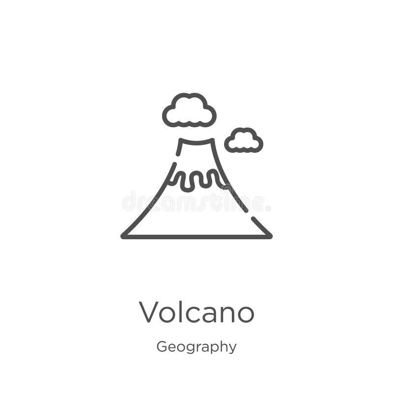 vector del icono del volcán de la colección de la geografía Línea fina ejemplo del vector del icono del esquema del volcán Esquem stock de ilustración