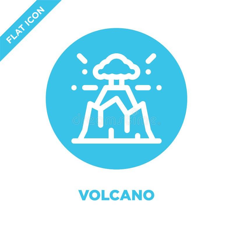 Vector del icono del volcán Línea fina ejemplo del vector del icono del esquema del volcán símbolo del volcán para el uso en la w ilustración del vector