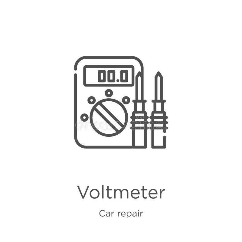 vector del icono del voltímetro de la colección de la reparación del coche Línea fina ejemplo del vector del icono del esquema de libre illustration
