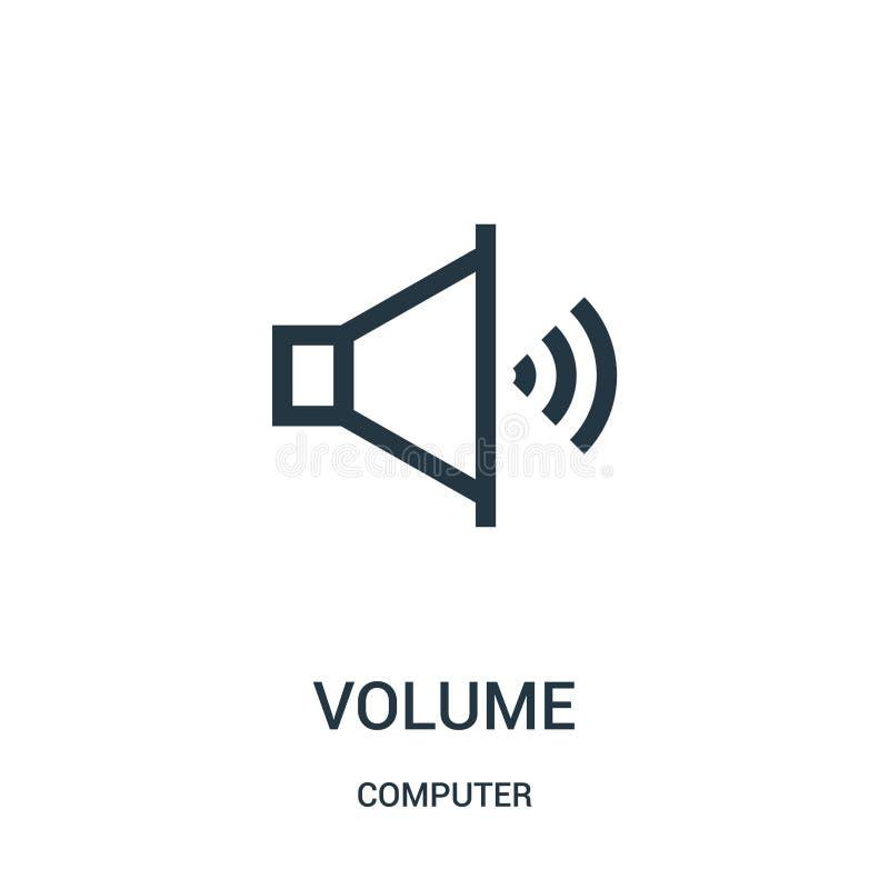 vector del icono del volumen de la colección del ordenador L?nea fina ejemplo del vector del icono del esquema del volumen libre illustration