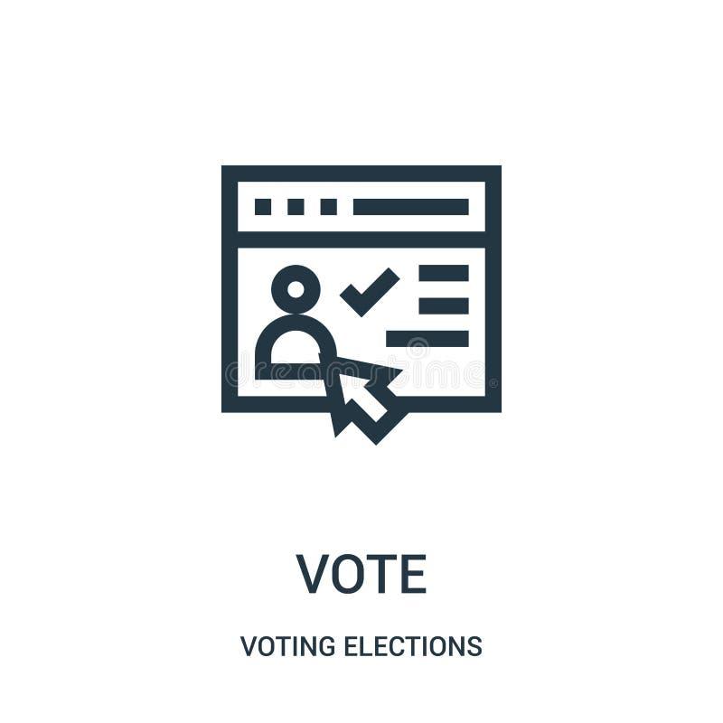 vector del icono del voto de la colección de votación de las elecciones Línea fina ejemplo del vector del icono del esquema del v stock de ilustración