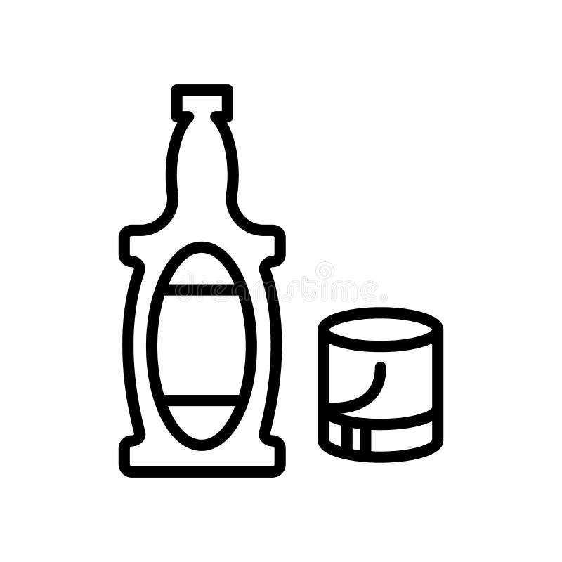 Vector del icono del whisky aislado en el fondo, la muestra del whisky, la línea y los elementos blancos del esquema en estilo li ilustración del vector