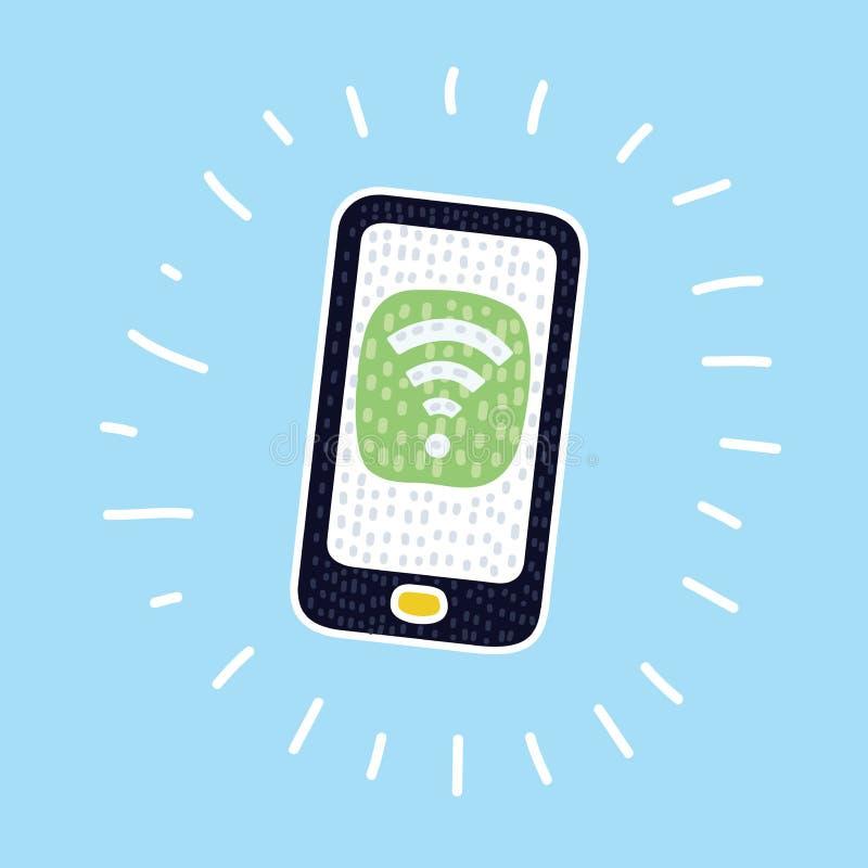 Vector del icono del wifi del teléfono stock de ilustración