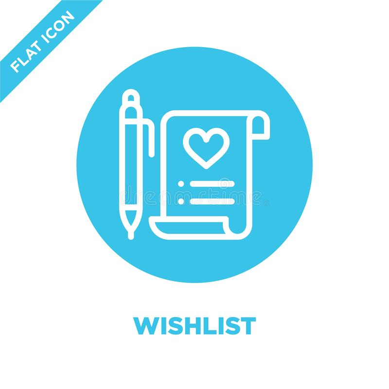 vector del icono del wishlist Línea fina ejemplo del vector del icono del esquema del wishlist símbolo del wishlist para el uso e ilustración del vector