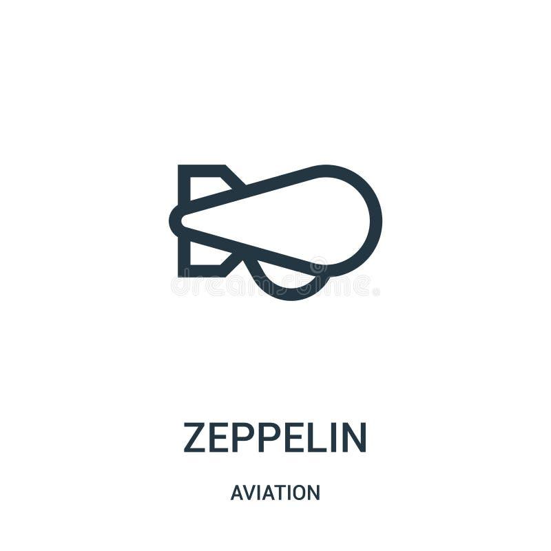 vector del icono del zepelín de la colección de la aviación Línea fina ejemplo del vector del icono del esquema del zepelín Símbo ilustración del vector