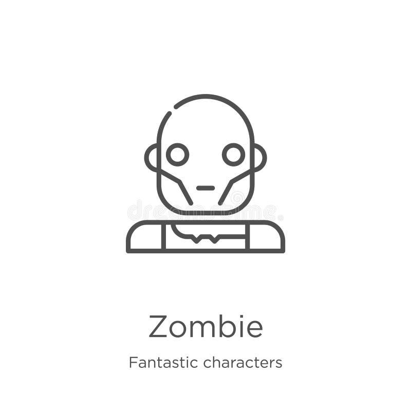 vector del icono del zombi de la colección fantástica de los caracteres Línea fina ejemplo del vector del icono del esquema del z libre illustration