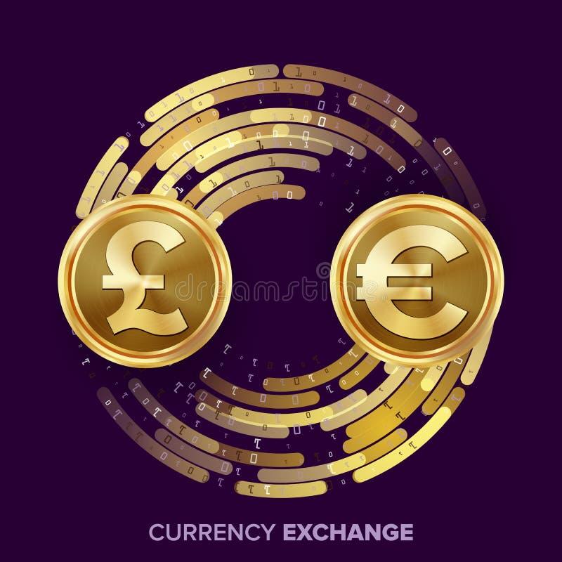 Vector del intercambio de moneda del dinero GBP, euro Monedas de oro con la corriente de Digitaces Operación comercial de la conv stock de ilustración