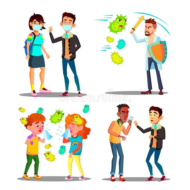 Vector del juego de caracteres del ataque del microbio de la alergia de la estación libre illustration