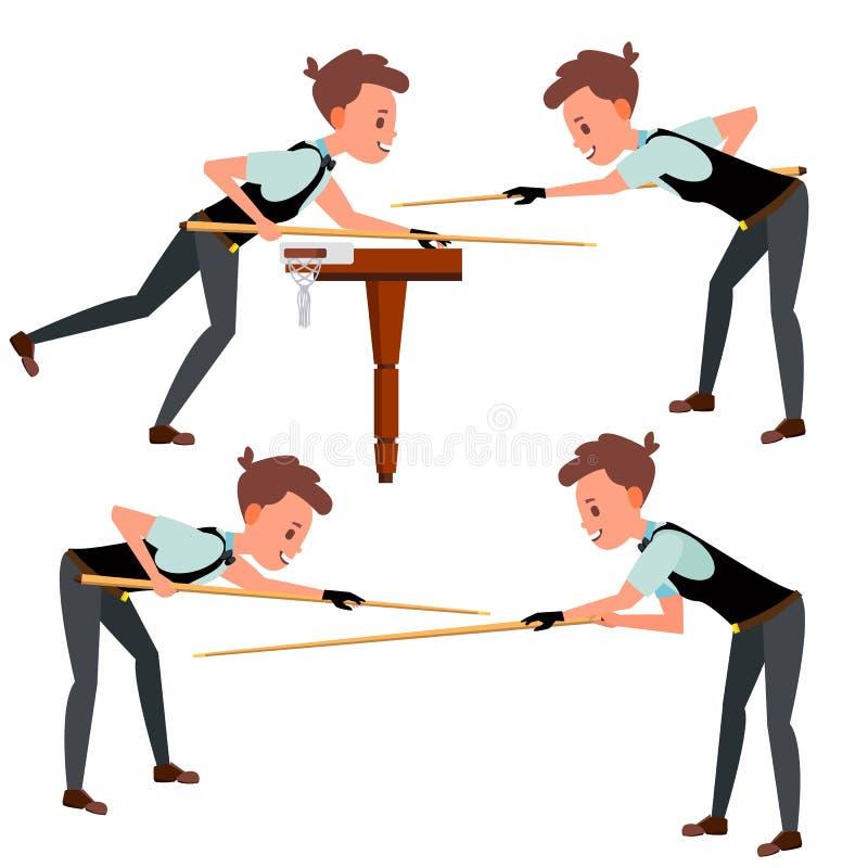 Vector del jugador del hombre joven del billar Hombre Siluetas del jugador Evento de la competencia billiard Atleta plano Cartoon ilustración del vector