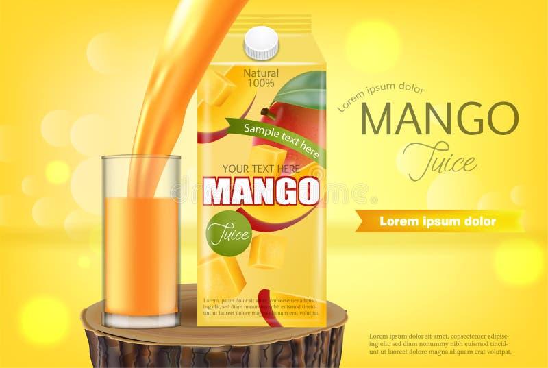 Vector del jugo del mango realista mofa de la colocaci?n del producto para arriba Bebida de colada en un vidrio Dise?o de empaque libre illustration