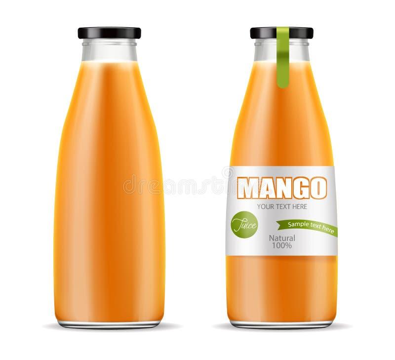 Vector del jugo del mango realista mofa de la colocaci?n del producto para arriba Dise?o de empaquetado ejemplos 3D stock de ilustración