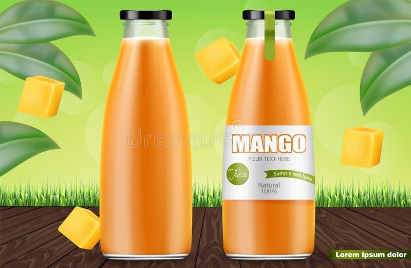 Vector del jugo del mango realista mofa de la colocaci?n del producto para arriba Dise?o de empaquetado ejemplos 3D ilustración del vector