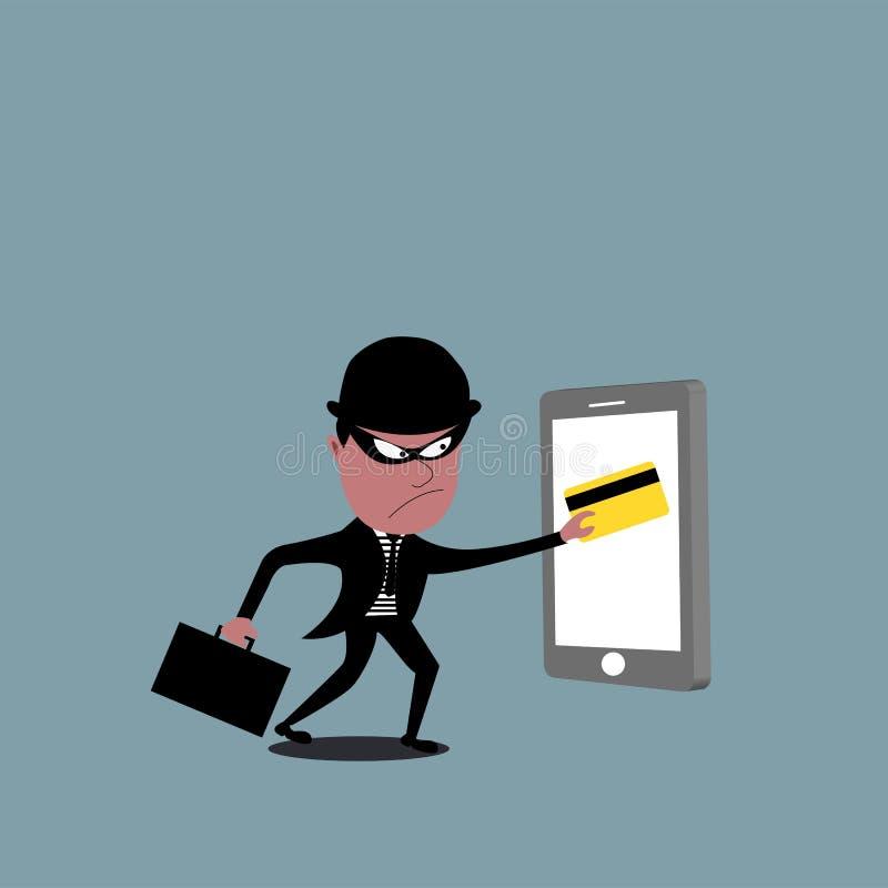 Vector del ladrón que sostiene una tarjeta de crédito Robo del pirata informático stock de ilustración