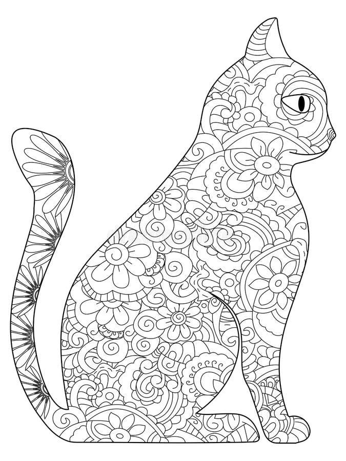 Vector Del Libro De Cat Coloring Para Los Adultos Ilustración del ...