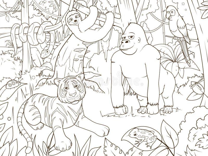 Vector del libro de colorear de la historieta de los animales de la selva libre illustration