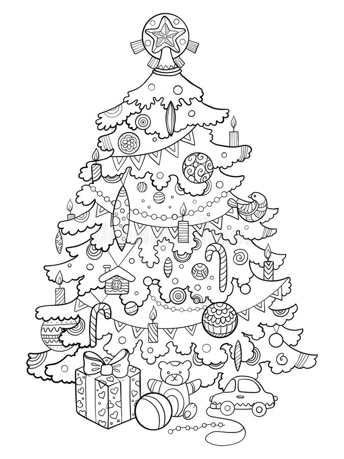 Vector del libro de colorear de la historieta del árbol de navidad stock de ilustración