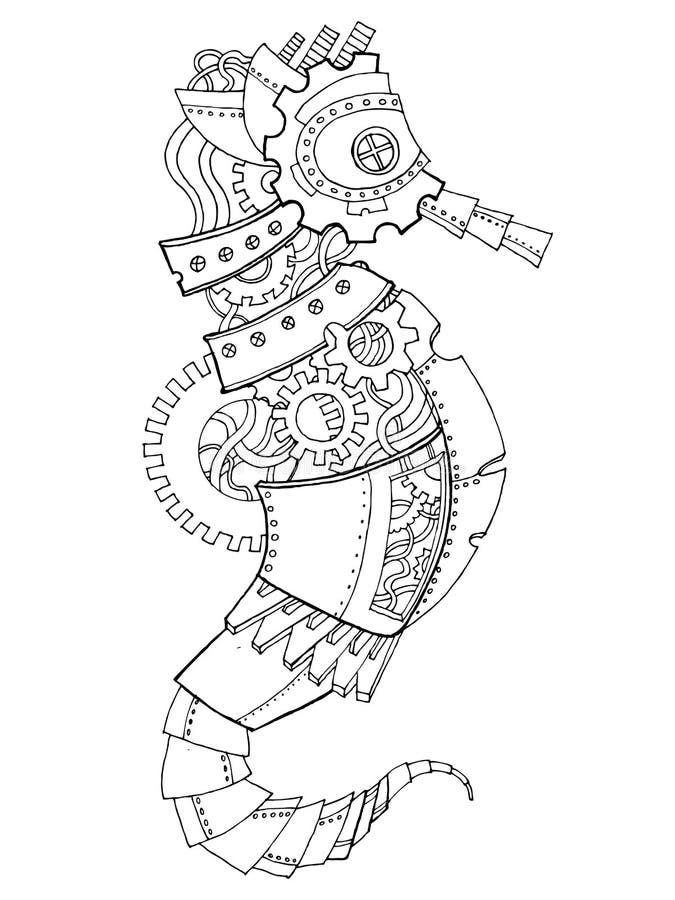 Vector del libro de colorear del caballo de mar del estilo de Steampunk ilustración del vector