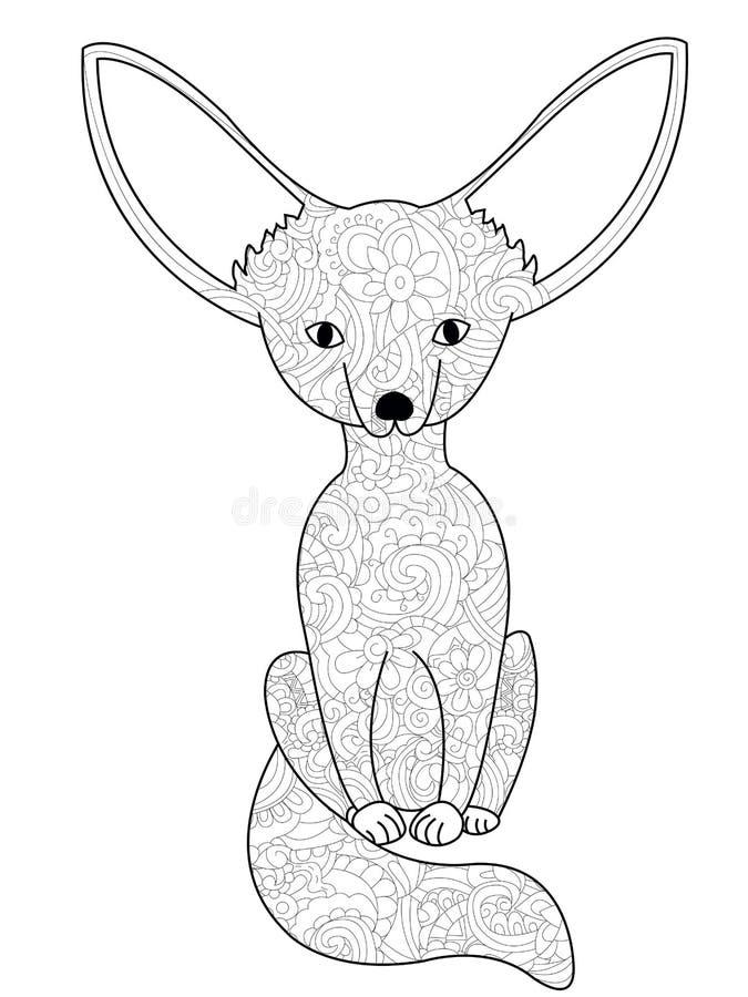 Vector del libro de colorear del zorro de Fennec para los adultos libre illustration