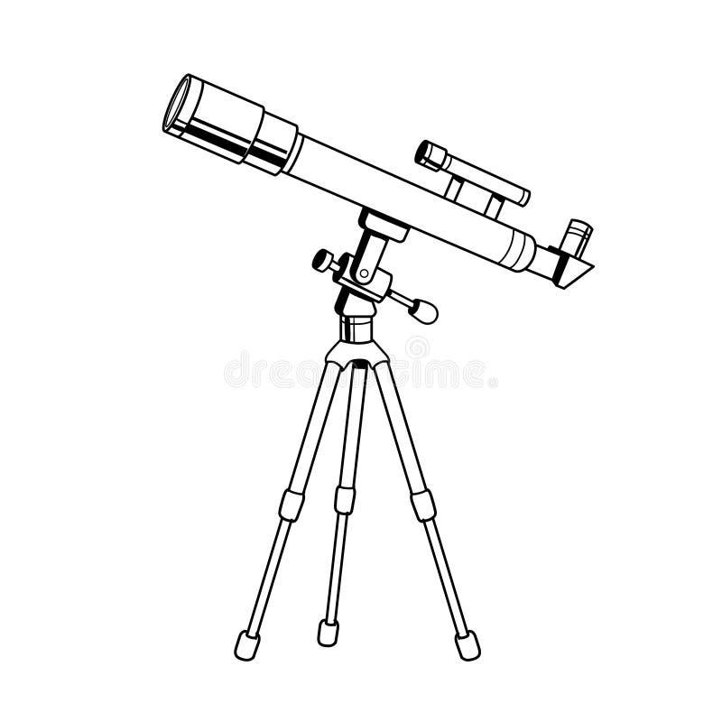 Vector del libro de colorear del objeto del telescopio ilustración del vector