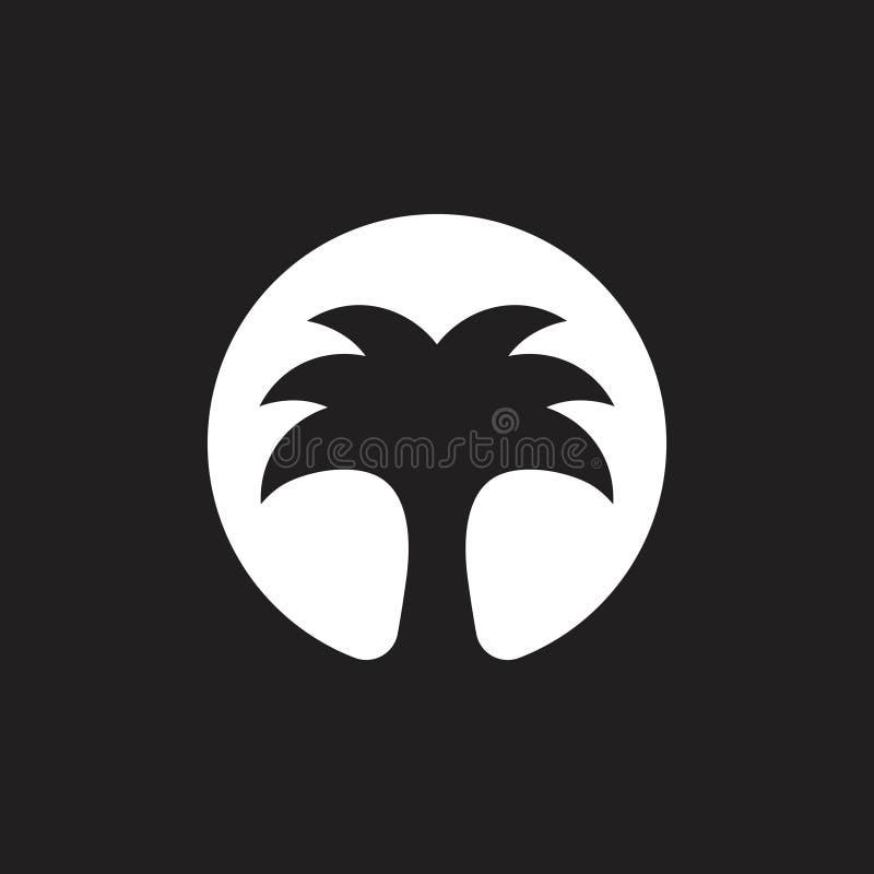 Vector del logotipo del árbol de la fecha de la palma de la noche árabe ilustración del vector