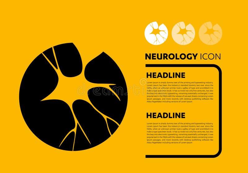 Vector del logotipo del cerebro de la neurología del icono de la variedad de células del nervio stock de ilustración