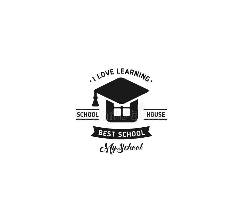 Vector del logotipo de la escuela Muestra de aprendizaje educativa del vintage del diseño monocromático del estilo De nuevo a esc ilustración del vector